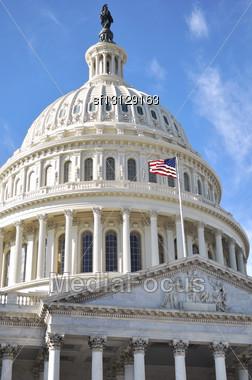 Capitol Hill Building Closeup Shot, Washington DC Stock Photo