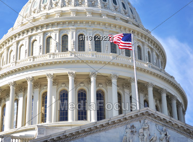 Capitol Hill Building Closeup Shot, Washington DC Stock Photo