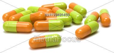 Capsules Isolated On White Background Stock Photo