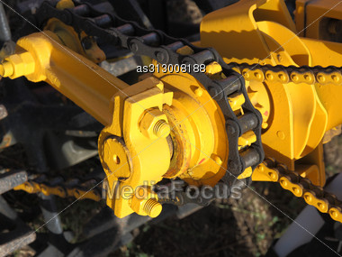 Car Engine Camshaft Gear And Chain Stock Photo