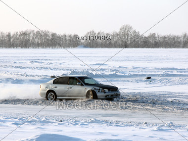Car On Winter Road. Stock Photo