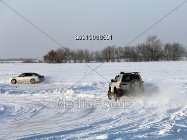 Car On Winter Road. Stock Photo