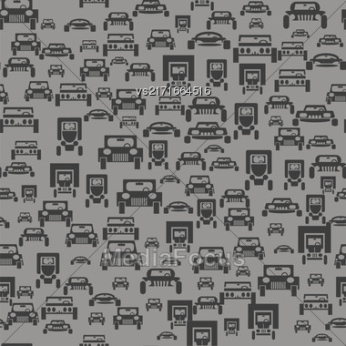 Car Silhouette Seamless Pattern On Grey Background Stock Photo