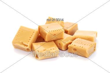 Caramel Candies Isolated On White Background. Stock Photo