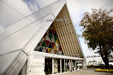Cardboard Cathedral Christchurch New Zealand Earthquake Memorial Stock Photo