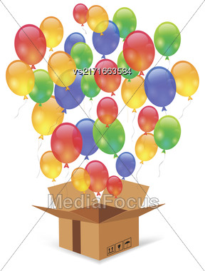 Cardbox And Colorful Balloons Isolated On White Background. Single Open Paper Box Stock Photo