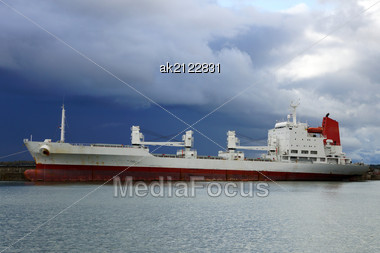 Cargo Ship Costs At A Mooring Stock Photo