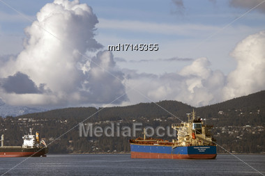Cargo Ships English Bay Vancouver Canada Sunrise Stock Photo