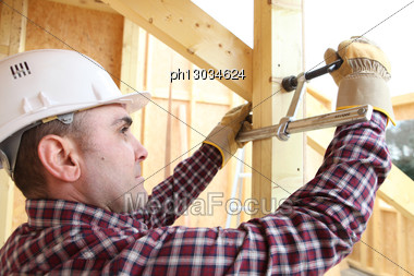 Carpenter At Work. Stock Photo