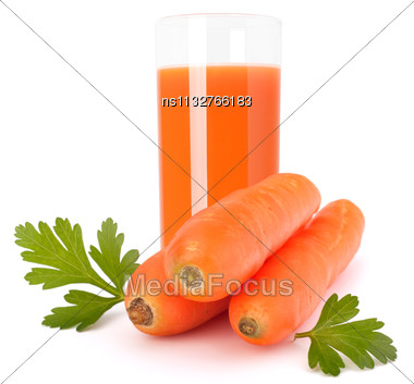 Carrot Juice Glass And Carrot Tubers Isolated On White Background Stock Photo