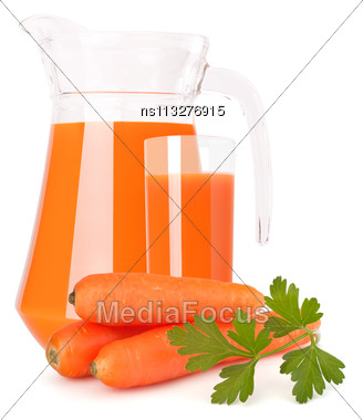Carrot Vegetable Juice In Glass Jug Isolated On White Background Cutout Stock Photo
