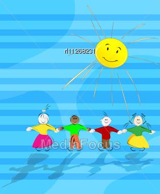 Cartoon children in the sun abstract background illustration stock