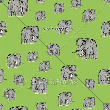 Cartoon Elephant Seamless Pattern On Green Background Stock Photo
