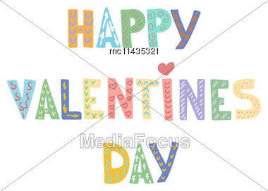 Cartoon Letters On White Background. Valentine`s Card. Love Greeting Or Invitation Card Design Stock Photo