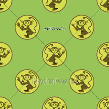 Cartoon Monkey Seamless Pattern On Green Background Stock Photo