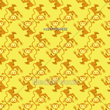 Cartoon Monkey Seamless Pattern On Yellow Background Stock Photo