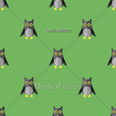 Cartoon Owl Seamless Pattern On Green Background Stock Photo
