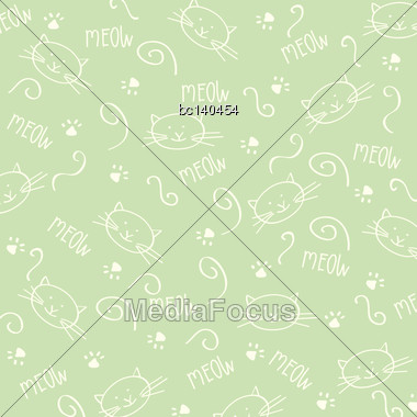 Cartoon Seamless Pattern With Cute Cats, Vector Format Stock Photo