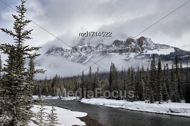 Castle Mountain Alberta In Winter Banff Park Stock Photo