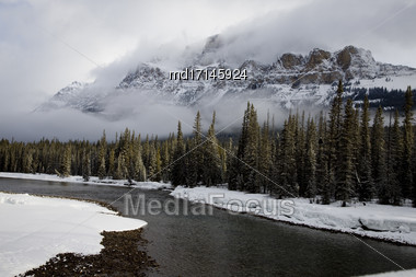 Castle Mountain Alberta In Winter Banff Park Stock Photo