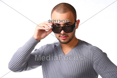 Casual Friendly Man In Jeans And Pullover - Isolated Stock Photo