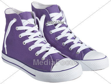 Stock Photo Casual Shoe With Laces Purple Clipart