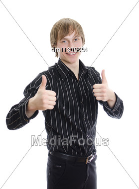 Casual Young Man Showing Thumb Up And Smiling. Isolated On White Stock Photo