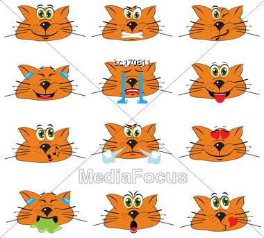 Cat Emojis Set Of Emoticons Icons Isolated. Vector Illustration On White Background Stock Photo
