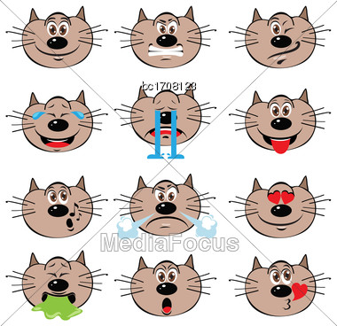 Cat Emojis Set Of Emoticons Icons Isolated. Vector Illustration On White Background Stock Photo