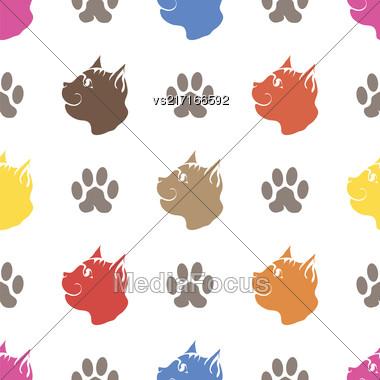 Cat Paw Seamless Animal Pattern. Pet Isolated On White Background Stock Photo