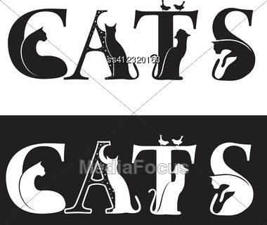 cats letters black and white silhouette stock photo