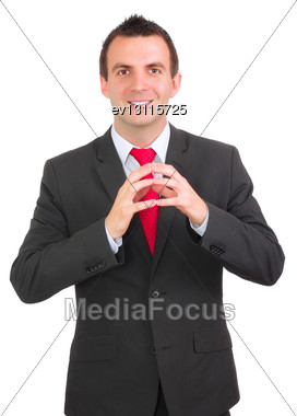 Caucasian Businessman With Crossed Arms. Isolated Over White Stock Photo