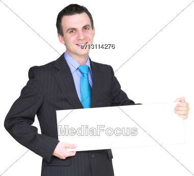 Caucasian Businessman With Empty , Blank White Card. Isolated Stock Photo