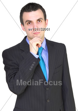 Caucasian Businessman - In Pensiveness Condition. Isolation Over White Stock Photo