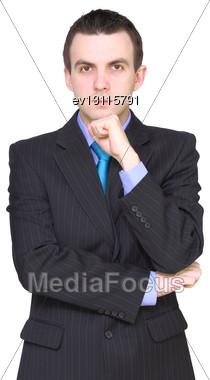Caucasian Businessman - In Pensiveness Condition. Isolation Over White Stock Photo