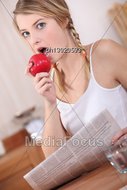 Caught Eating My Apple Stock Photo