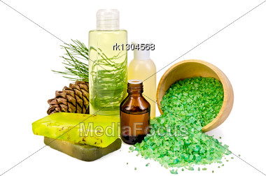 Cedar Oil In A Bottle, Cedar Cones With Branch, Two Green Homemade Soap, Salt In A Wooden Bowl, Lotion, Shower Gel Stock Photo