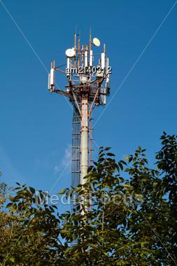 Cellular Antenna Against A Clear Blue Sky Stock Photo