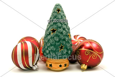 Ceramic Christmas Tree And Xmas Baubles Stock Photo