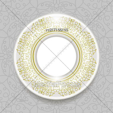 Ceramic Ornamental Plate Isolated On Grey Ornamental Background. Top View Stock Photo