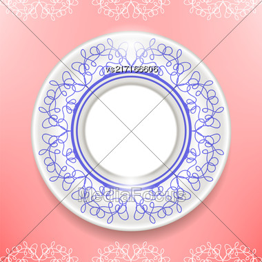 Ceramic Ornamental Plate Isolated On Pink Background. Top View Stock Photo