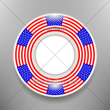 Ceramic Plate With American Flag Print Isolated On Grey Bckground Stock Photo