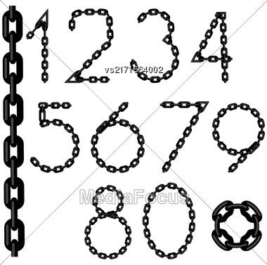 Chain Number Collection Isolated On White Background Stock Photo