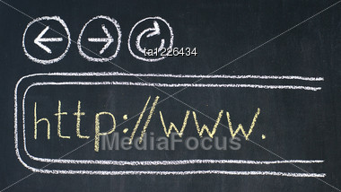 Chalk Drawing Of Browser With Buttons Backward, Forward, Reload And Address Window Stock Photo
