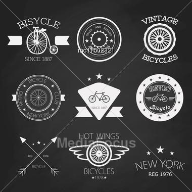 Chalk Vector Set Of Old Bikes Shop Logo Set Background Stock Photo