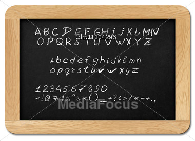 Chalkboard With Alphabet Letters, Numbers And Symbols For Your Own Text. Isolated On White. Stock Photo