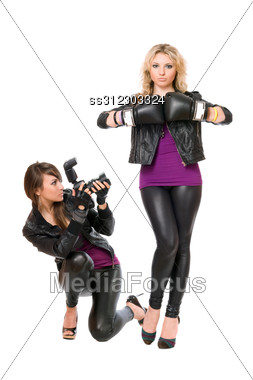 Charming Blond And Brunette With The Camera Stock Photo