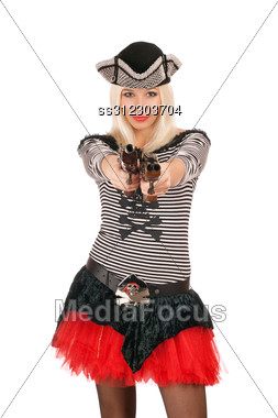 Charming Girl With Guns Dressed As Pirates Stock Photo
