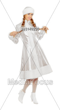 Charming Smiling Snow Maiden. Isolated On White Stock Photo