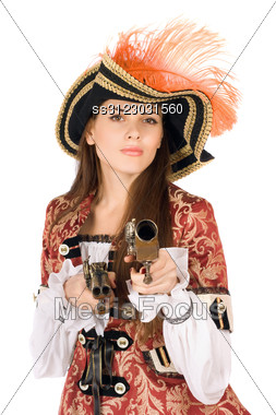 Charming Young Woman With Guns Dressed As Pirates Stock Photo